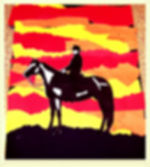 Kidfunideas.com Sunset Desert picture craft for kids. An easy and fun summer craft for kids.  Make this ripped paper craft. Great as part of a western theme or birthday party craft