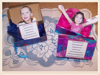 Kidfunideas.com Hug box for Mother's day present.  Give mom a hug that with last a lifetime and make her this cute and easy Mother's Day craft for kids
