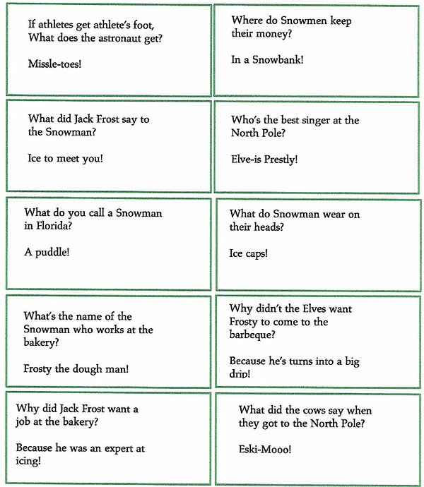 Kidfunideas.com winter and Christmas jokes for kids sheet of 10 jokes to print out