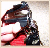 Kidfunideas.com tip: open a key ring with a staple remover