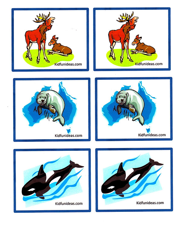 Kidfunideas.com Arctic animals match game printout card