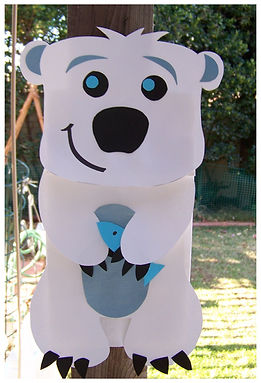 Kidfunideas.com Polar bear paper bag puppet picture of finished craft