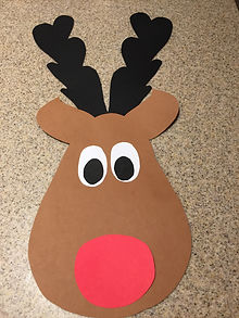Kidfunideas.com Rudolph the red nose reindeer example picture example.  Making the face