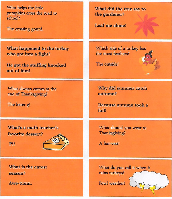 Kidfunideas.com Autumn jokes for kids joke sheet with 10 jokes to print