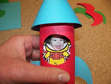 Kidfunideas.com astronaut to the moon space craft picture of inserting the astronaut into the rocket