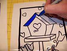 Kidfunideas.com Valentines stained glass picture of coloring the pattern
