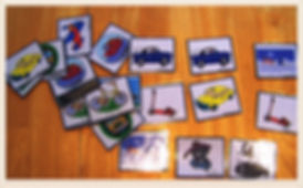 Kidfunideas.com transportation match game for kids.  Have fun with transportation with this easy to make kid's game.  a great addition to any classroom transportation unit.