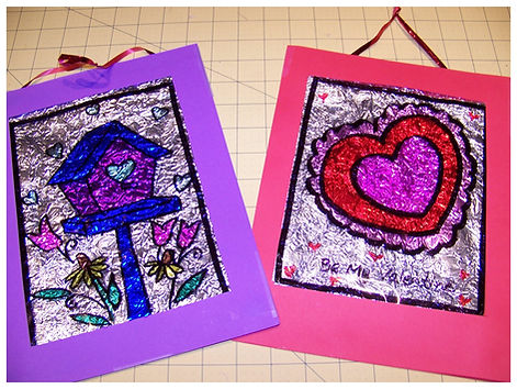 Kidfunideas.com Valentine Stained Glass picture craft