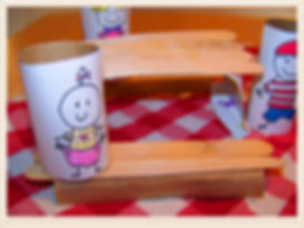Kidfunideas.com Picnic craft for kids.  Easy to make picnic table craft to go with our Picnic Pals craft for kids