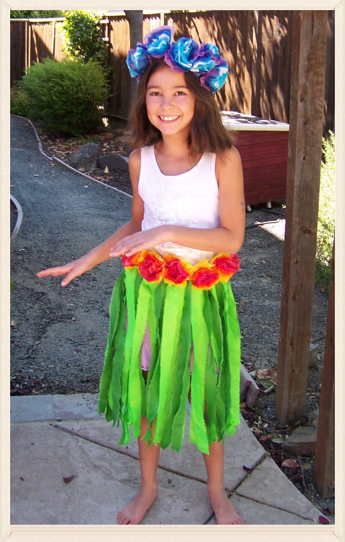 Hula skirt and flower headdress