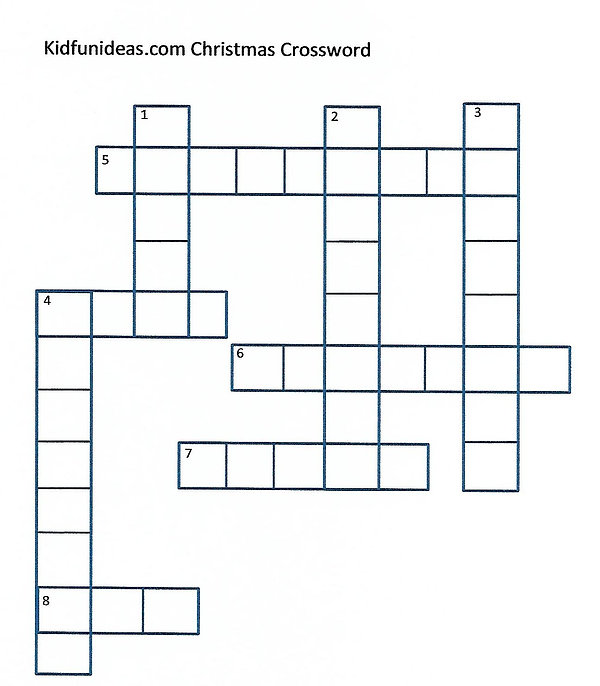 Kidfunideas.com Christmas crossword puzzle for kids