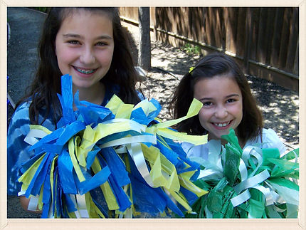 Kidfunideas.com Cheerleader Pom-pom craft.  Cheer for your team with this fun to make pom pom kids craft.