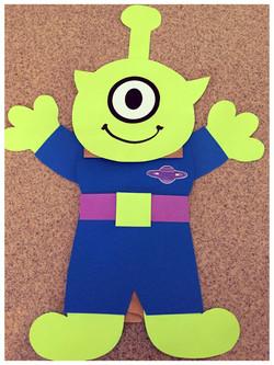 Alien paper bag puppet