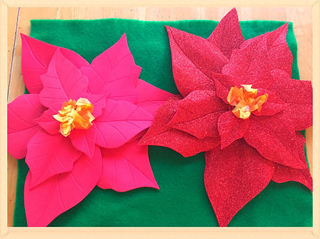 Kidfunideas.com Poinsettia craft project final produt picture