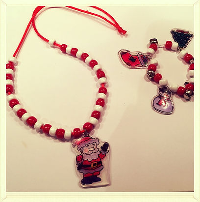 Kidfunideas.com Holiday charm bracelet and necklace craft made with homemade Shrinky dinks
