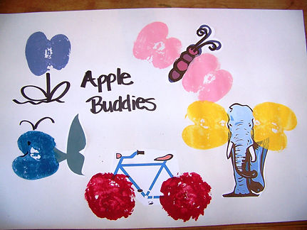 Kidfunideas.com Apple buddies craft for kids to make.  Fun apple craft for September