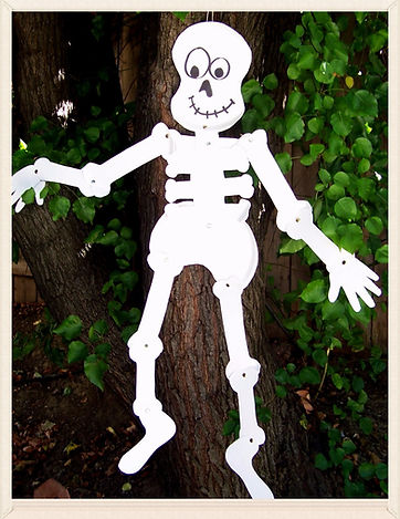 Kidfunideas.com Spooky Kooky Paper Plate Skeleton craft for kids.  An easy and fun Halloween craft