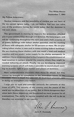 JFK Letter September 7, 1961