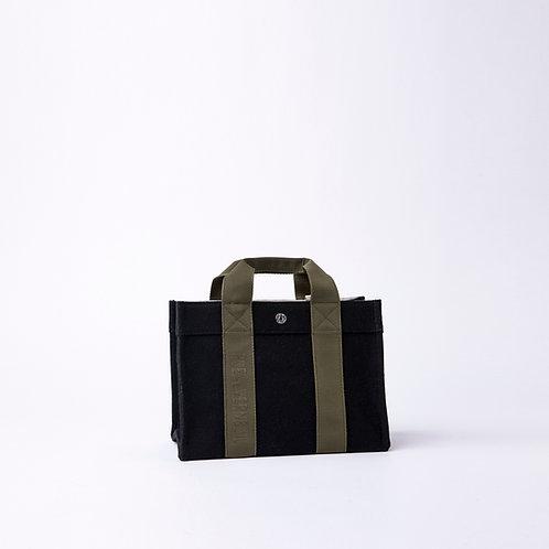 TOTE SMALL - Black Flannel, Kaki Logostrap
