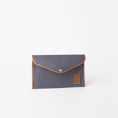 ENVELOPPE M - Navy Fine Stripes