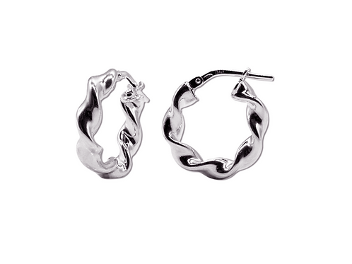 SMALL SILVER HOOPS TWISTED