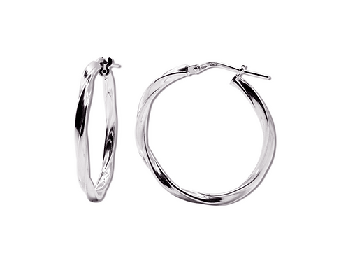 MIDDLE SIZE SILVER HOOPS