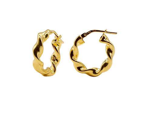 Kleine gedrehte Ohrringe gold