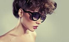 Model in glasses