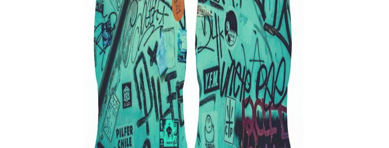 Turquoise Graffiti Ankle Socks