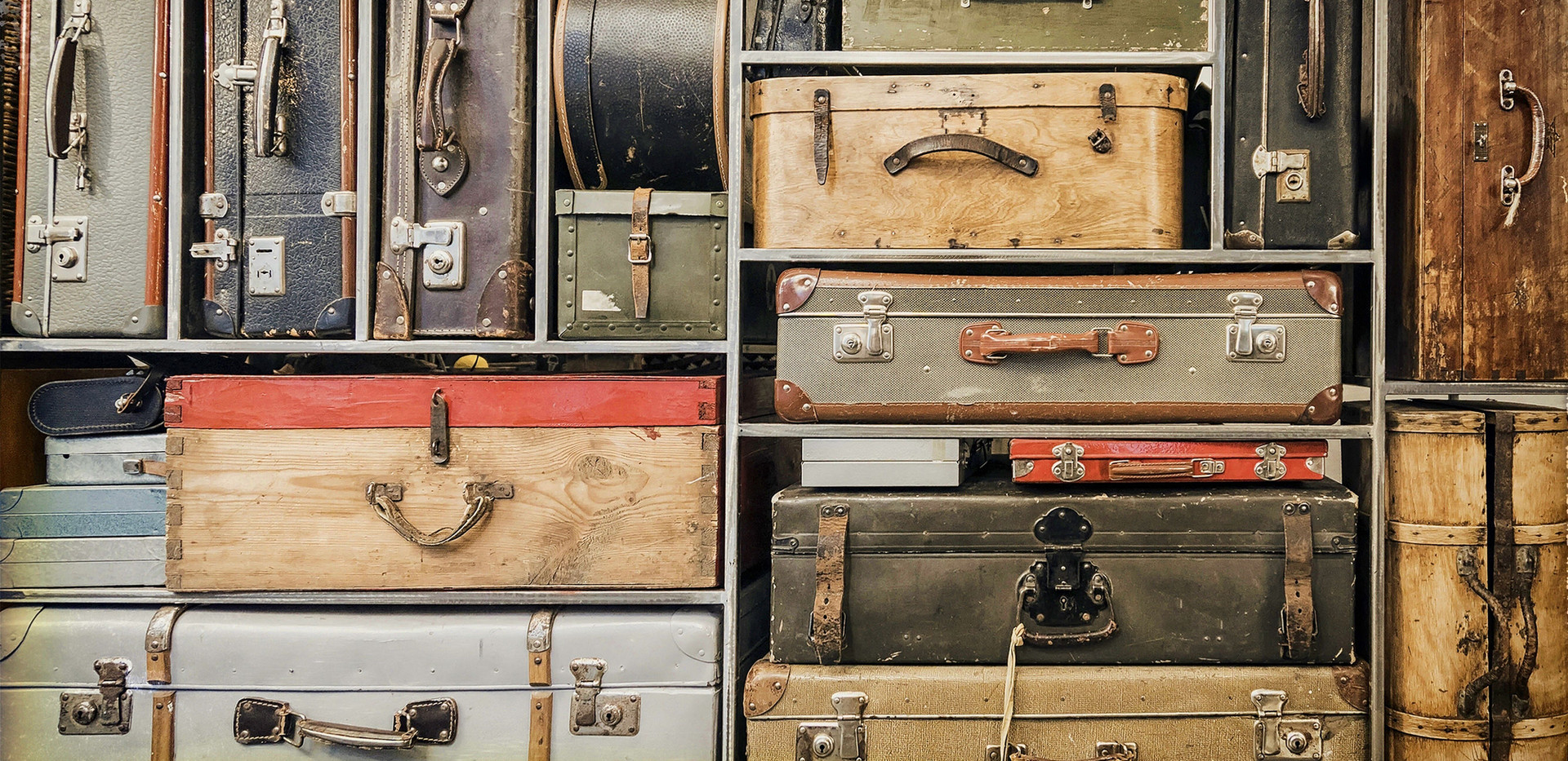 Vintage Luggage in Shelves