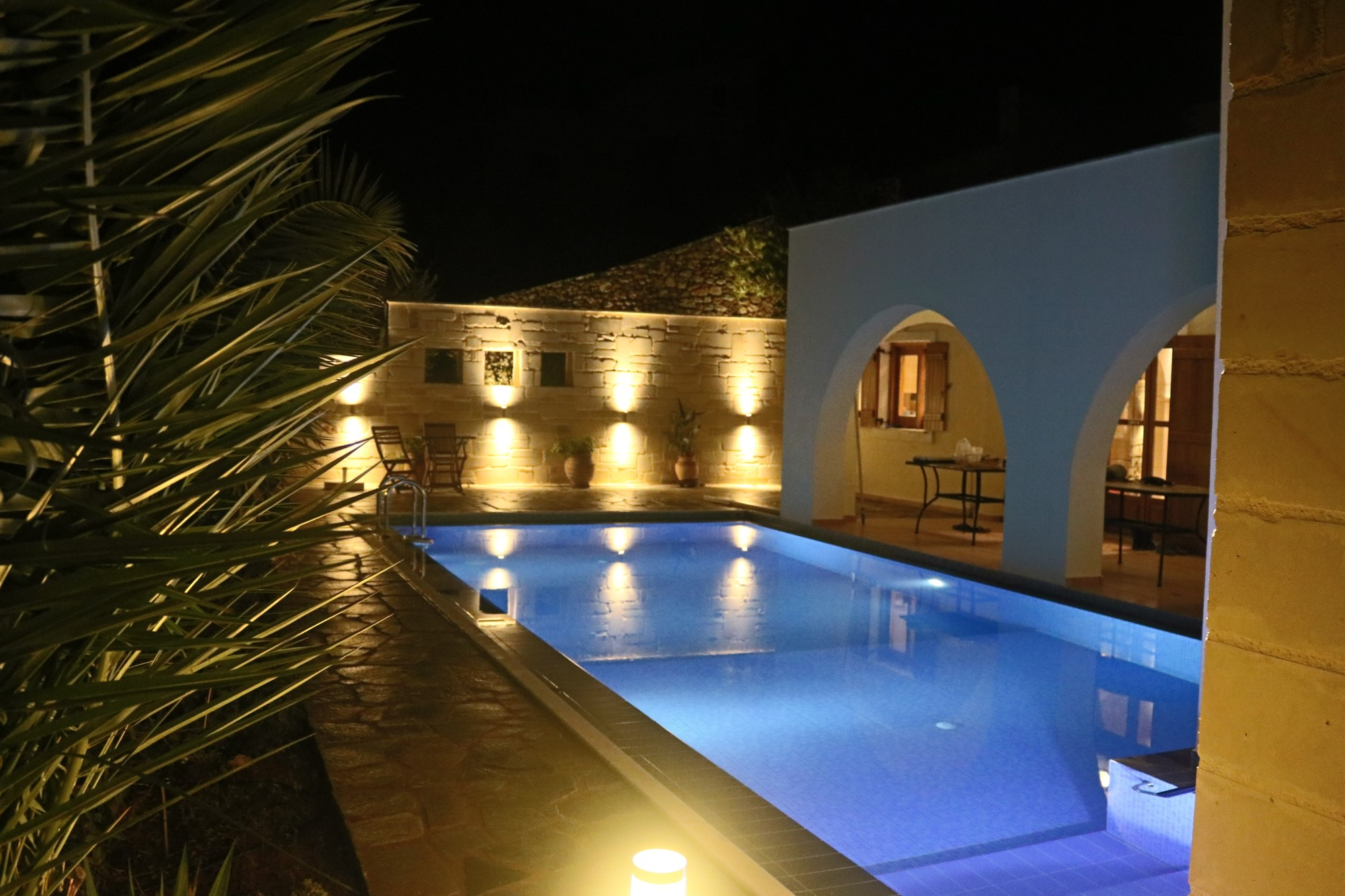 New pool and wall view by night