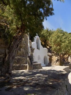 Rock chapel and Roman Column at Agios Nikolaos