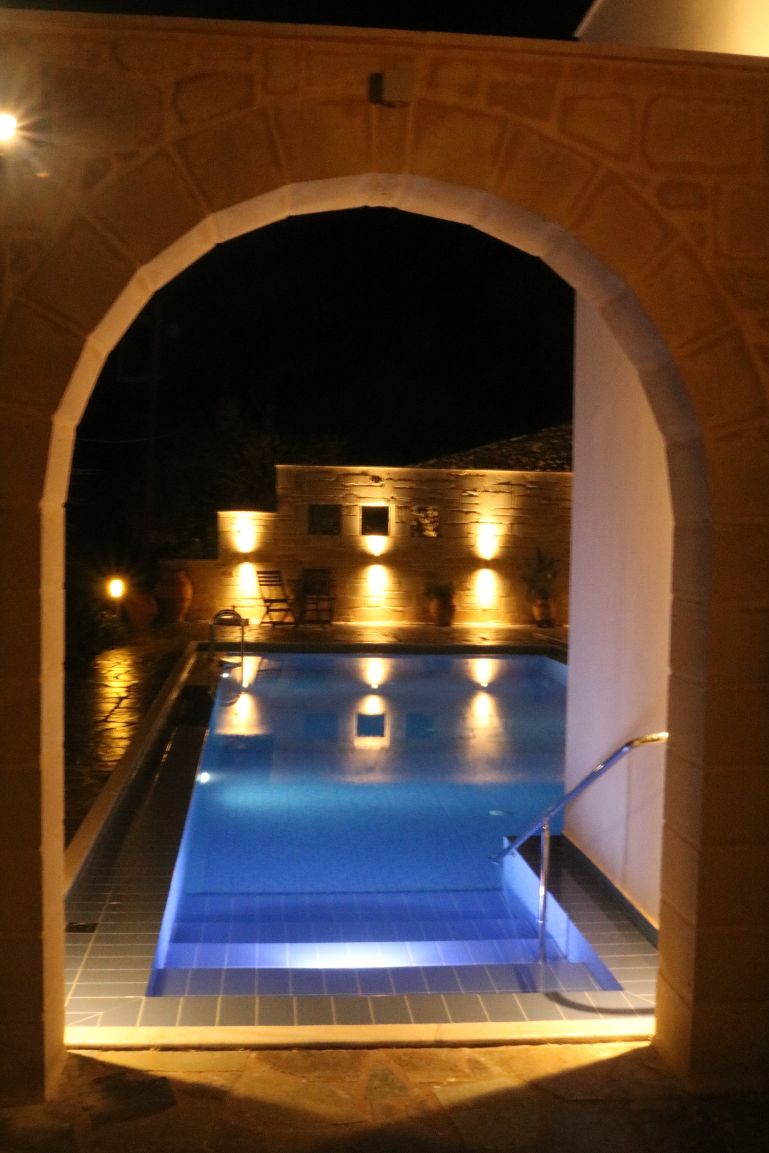 Pool arch by night