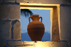Evening light on the pottery...