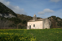 Ancient chapel in fields