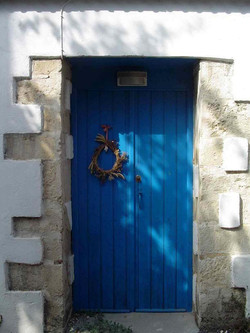 Typical Greek blue door