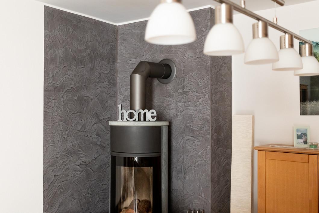 Spachteltechnik, besondere Wandtechnik im Wohnzimmer