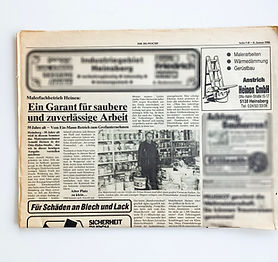 Zeitungsartikel, 1986, Anstrich Heinen, saubere und zuverlässige Malerarbeiten
