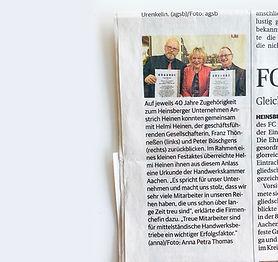 40 Jahre Betriebszugehörigkeit bei Anstrich Heinen