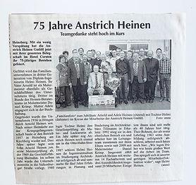 75 JahreMalerbetrieb, Anstrich Heinen in Heinsberg