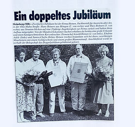 Zeitungsartikel, HS-Woche, zwei Mitarbeiter arbeiten seit über 25 Jahren als Maler bei Anstrich Heinen in Heinsberg