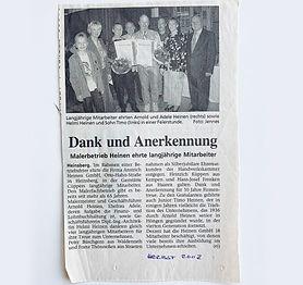 Zeitungsartikel, zwei Mitarbeiter feiern 10 Jahre bei Anstrich Heinen in Heinsberg