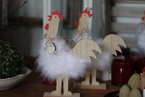 Holz-Huhn mit Federn