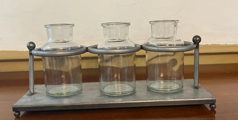 Metal and Three Glass Petite Vases