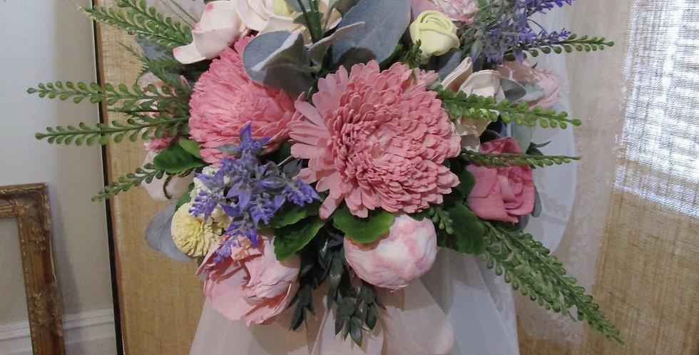 "14"" Hand Tied Bridal Blush Bouquet"