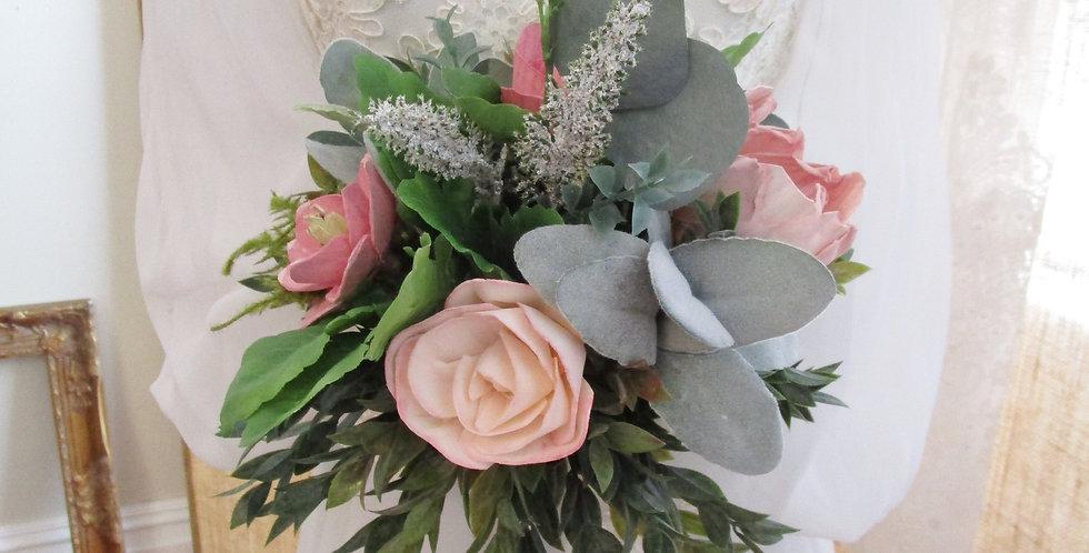 "10"" Hand Tied Bridal Blush Bouquet"