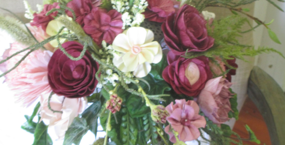 """12"""" Hand Tied Tanglewood Wine Bridal Bouquet"""