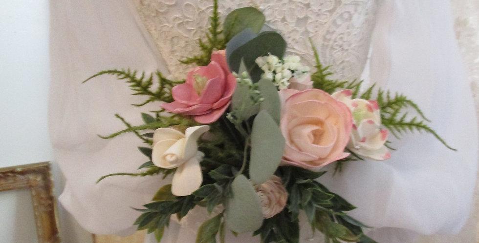 "6"" Hand Tied Bridal Blush Bouquet"