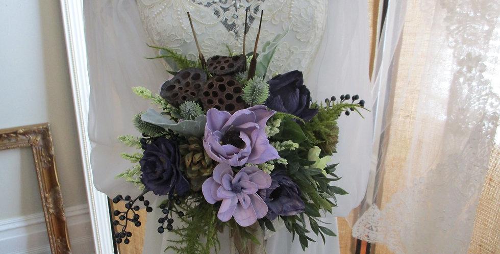 """15"""" x 27"""" Plum Passion Horizontal Bridal Bouquet"""