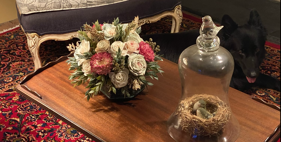 Fall Sage and Pink Centerpiece